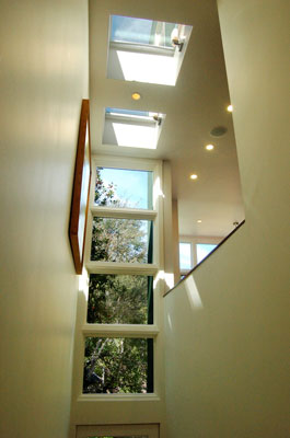 Skylights and clerestory windows in new stairway provide natural light.