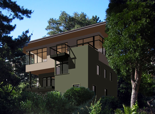 Composite image showing the new second floor addition and roof deck