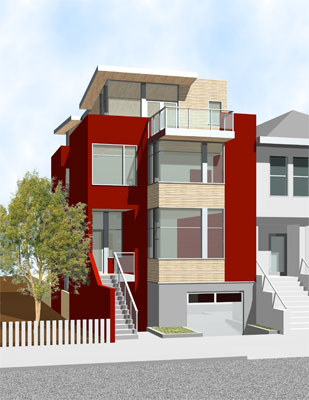 Rendering of front elevation.  This new home in the Richmond District of San Francisco includes a penthouse den and game room, each opening onto roof decks with panoramic views.  A glass enclosed stairwell brings light into the heart of the house.  The kitchen and family room open onto a dining deck at the main level, while a ground floor guest suite enjoys direct access to the garden.