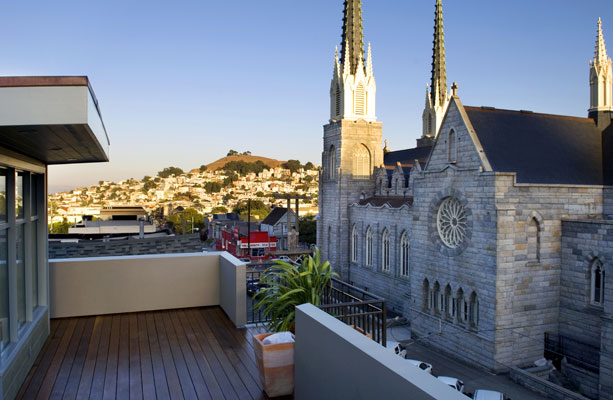Stunning views of Noe Valley from the rooftop deck accessed from the master suite.
