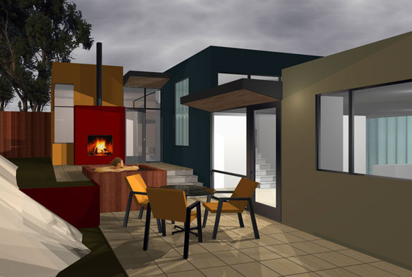 Rendering of exterior at night, featuring the indoor/outdoor fireplace and spa.