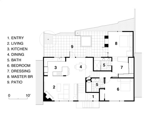 Floor plan, showing the connection of interior and exterior as well as the open floor plan of the main living spaces.